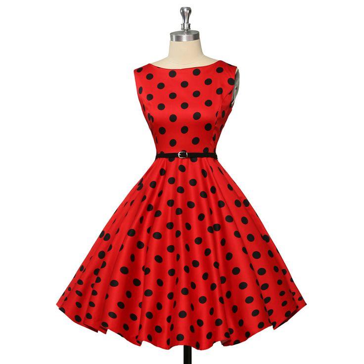 Grace Karin 2XL 3XL Plus size vintage rockabilly dresses Women red Audrey Hepburn dress Summer Polka dot swing vestidos