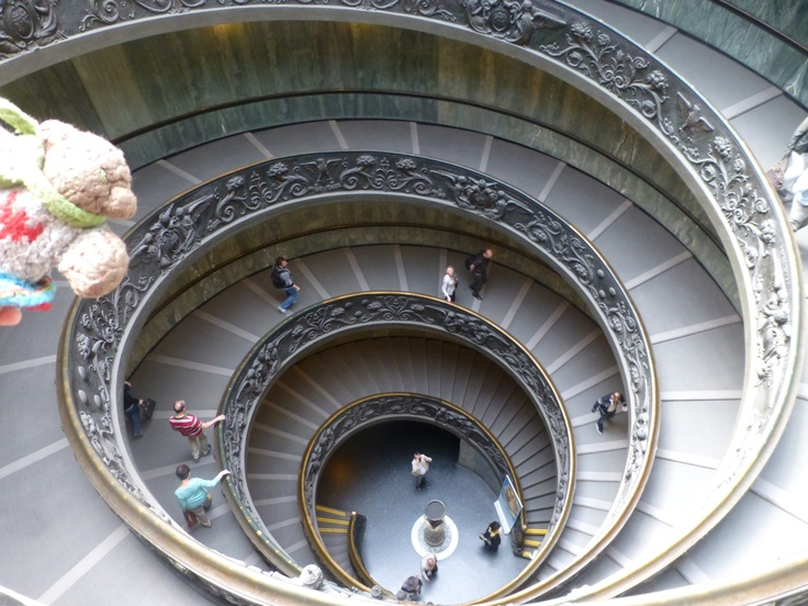 Mini Bear heads down the spiral staircase to leave the Vatican in April, 2013.