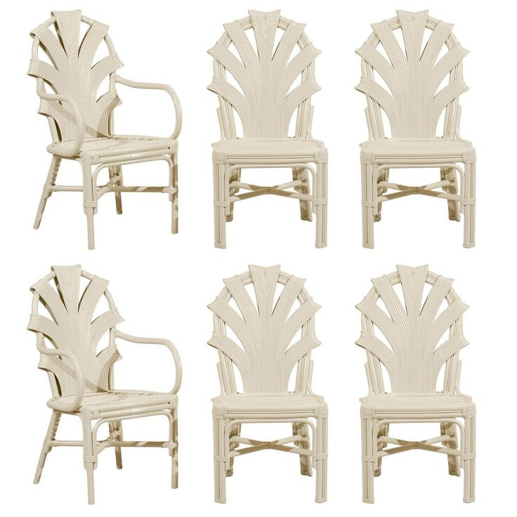 Exceptional Set Of Six Vintage Rattan Dining Chairs In Cream Lacquer  Rattan Dining Room Chairs