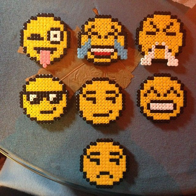 Emoji coasters hama beads by albalcaide