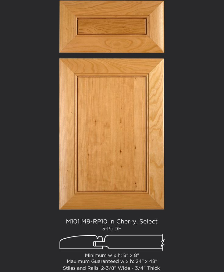 Popular transitional cherry cabinet door with subtle details, mitered frame and raised panel M101-M9-RP10 in Cherry Select by TaylorCraft Cabinet Door Company taylorcraftdoor.com