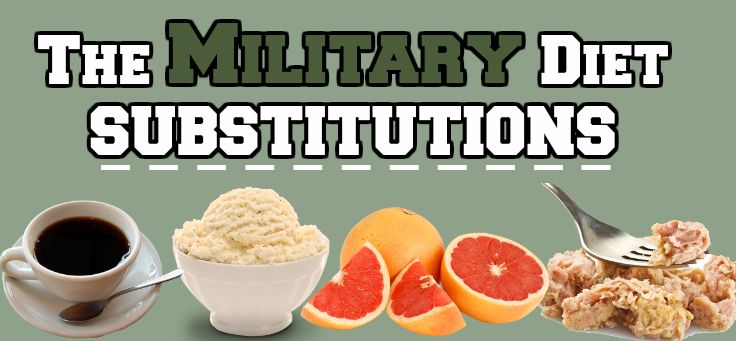 Military Diet Swaps and Substitutions - Alternative food items for grapefruit, coffee, cottage cheese etc for the 3 day diet plan