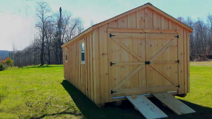 """We call this 12 x 24 Gable Board and Batten shed, the """"Big Boy"""". Custom made by West Quebec Shed Company, continue to use true cut framing other know as rough cut. True 2x6 flooring, 3/4 inch plywood floor,  2x4 wall studs, 2x6 roof rafters. Metal roof with the added Bubble insulation to the roof to decrease inside heat temperature by over 40% and stops frost drip in colder months. The specialized ramps can easily be disconnect with both the aluminum receiver and connector components."""