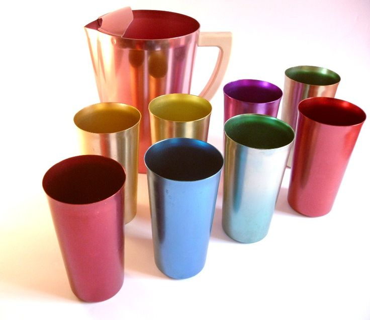 We had a set just like this...aluminum cups that sweat like crazy, full of an ice cold drink