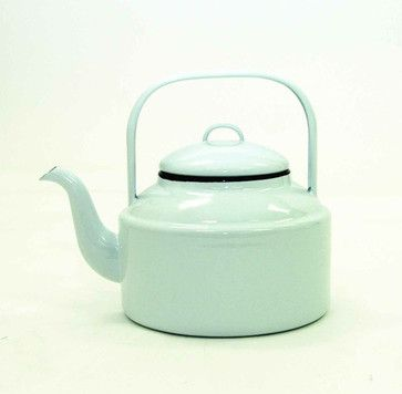 White Enamelware Tea Kettle With Black Trim contemporary coffee makers and tea kettles