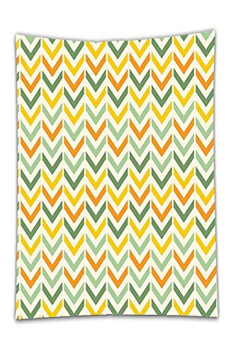 Interestlee Satin drill Tablecloth?Chevron Retro Countryside Colors Zigzags in Vertical Direction Striped Composition Green Yellow Orange Dining Room Kitchen Rectangular Table Cover Home Decor