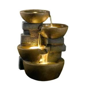 Fountain Cellar Pots Water Fountain with LED Light-FCL037 at The Home Depot $159  •Dimension: 18 in. L x 16 in. W x 23 in. H •Weight: 13.86 lbs.