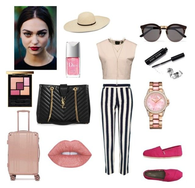 """""""Untitled #329"""" by gloriatovizi on Polyvore featuring River Island, TOMS, Puma, SUGARFIX by BaubleBar, CalPak, Yves Saint Laurent, Juicy Couture, Illesteva, Christian Dior and Bobbi Brown Cosmetics"""