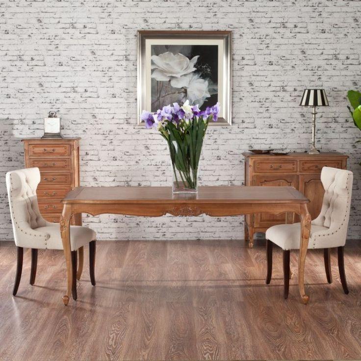 Elegant table with white chairs.  #dekoria #table #elegant #chabic #chic #white #natural #chairs #france #style #vintage #kitchen #stol #kuchnia #krzesla #retro #rozkladany #drewno #naturalne #furniture