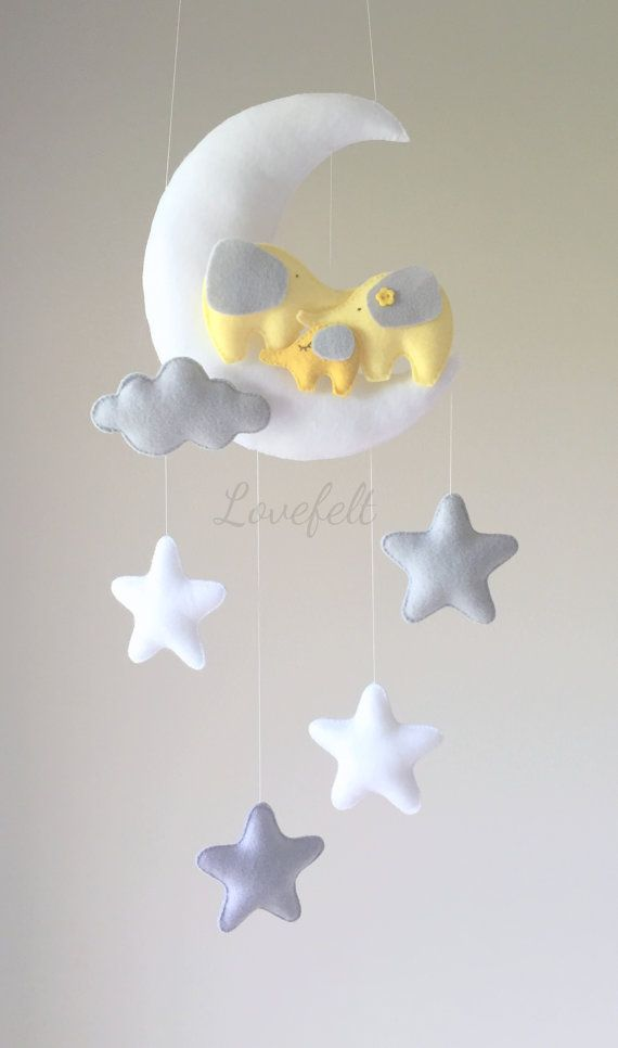 Bebé móvil Luna elefante-móvil móvil de cuna por lovefeltmobiles