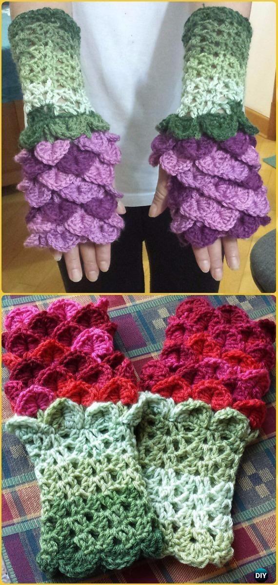 Crochet Flower Dragon Gauntlets Free Pattern - Crochet Dragon Scale Crocodile Stitch Gloves Patterns