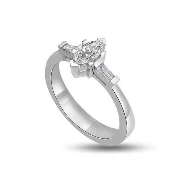 ANELLO TRILOGY CON DIAMANTI 18CT ORO BIANCO | Anello Trilogy con Diamante Taglio marquise e baguette. Il peso totale dei carati per questo anello e` disponibile da 0.30ct a 0.80ct, con il diamante centrale che va da 0.14ct a 0.50ct e i due laterali da 0.16ct a 0.30ct. Il diamante centrale e` un taglio marquise e i due diamanti laterali sono taglio baguette montati a griffe. Tutti i diamanti sono disponibili in H, G ed F colore e in VS1 ed SI1 purezza.