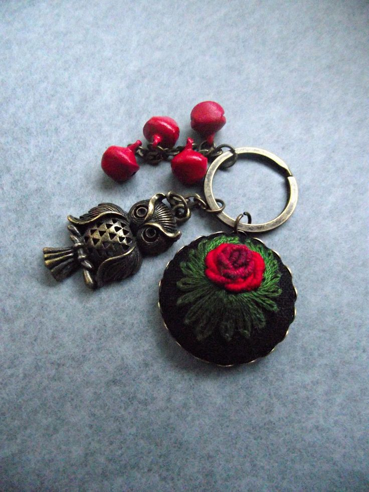 Hand embroidered charm, embroidered keychain, with owl by ZoZulkaart on Etsy