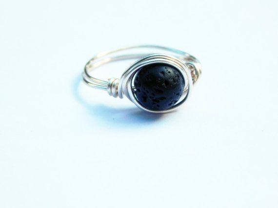 Lava Rock Ring, Lava Ring, Wire Wrapped Lava Rock, Diffuser Ring, Wire Wrapped Ring, Essential Oil Ring, Lava Rock Jewelry, Aromatherapy #ad