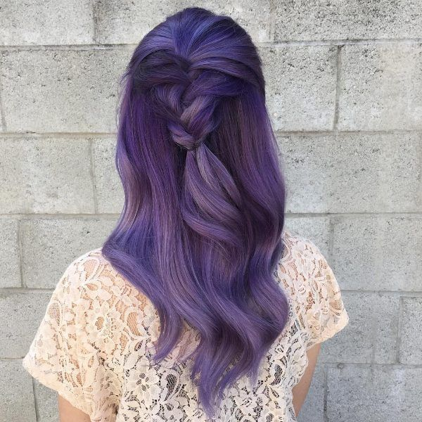 black hair with purple ombre