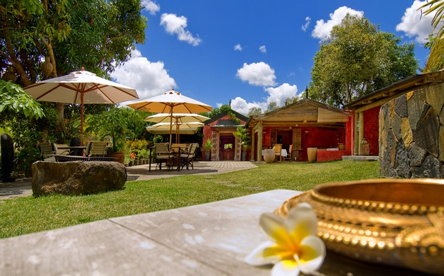 What a lovely place to eat. It's at Lakaz Chamarel, in Mauritius.