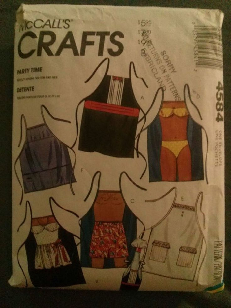RARE McCall's Crafts #4584-6 Novelty Party/BBQ Aprons and Bottle Decor-Complete  this #rare #McCalls #sewingpattern to make several #novelty #party #bbq #aprons includes a #tuxedo apron and #bottlecover and even a #bikini novelty apron! #buy it now and make a #funapron for your next #gathering!