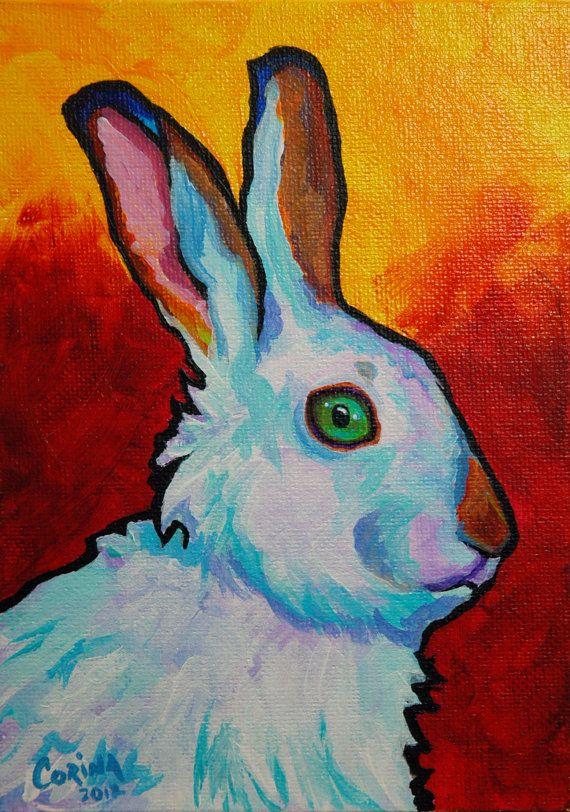 White Rabbit Wildlife Art Original Acrylic by CorinaStMartinArt