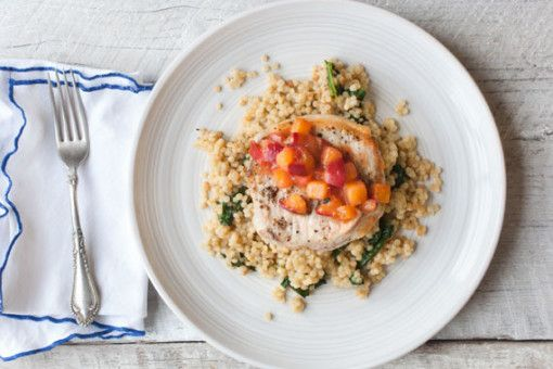 Succulent Pork Cutlets with Warm Peach Salsa and Israeli Couscous