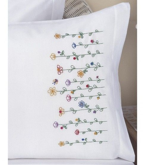 Bucilla Pillowcase Pair Stmpd X-Stitch 20X30-Tall Flowers, , hi-res - inspiration for kitchen embroidery