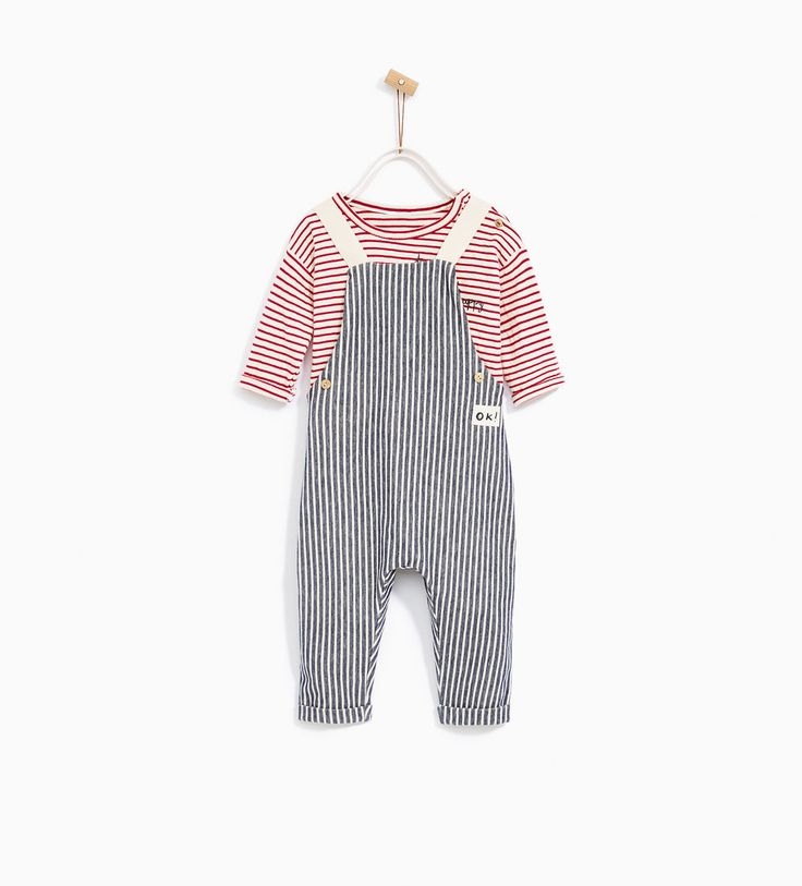 Image 1 of STRIPED DUNGAREES from Zara