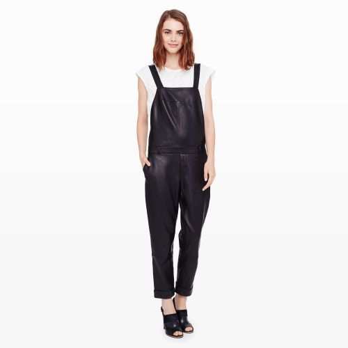 $795, Black Leather Overalls: Club Monaco Dani Leather Overall. Sold by Club Monaco.