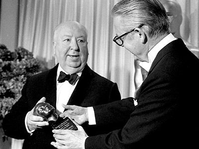 """Despite 5 nominations, legendary director Alfred Hitchcock did not win a competitive Oscar.  Only one of his movies, Rebecca, was named Best Picture (in 1941).  Upon receiving the Irving G. Thalberg Memorial Award for his body of work, he stated """"I share this award, as I have my life, with Alma.""""   (Academy Awards)"""