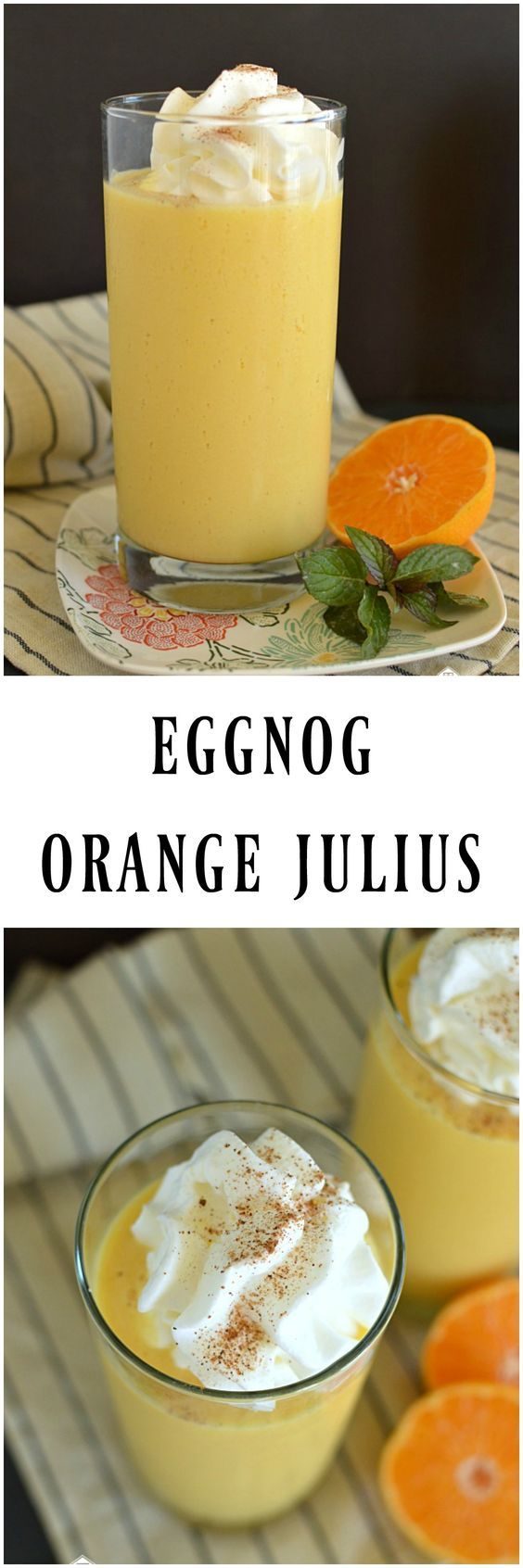 Eggnog Orange Julius is a fun new holiday twist on an old classic! It only takes a few minutes and a few ingredients and you will be enjoying this creamy drink!