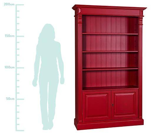 Bibliothèque bois de pin finition brossée, rouge intense - H210