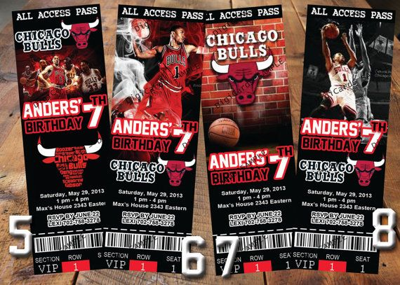 nba chicago bulls birthday party invitations basketball photo cards any team baby 1st first. Black Bedroom Furniture Sets. Home Design Ideas