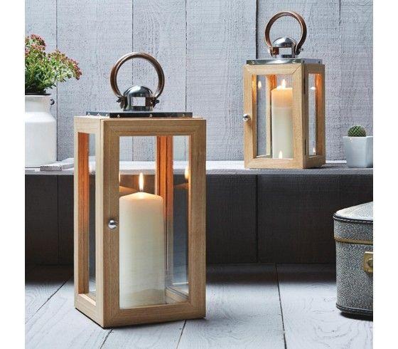 laterne holz edelstahl kunstleder braun bei m max g nstig online bestellen deko pinterest. Black Bedroom Furniture Sets. Home Design Ideas