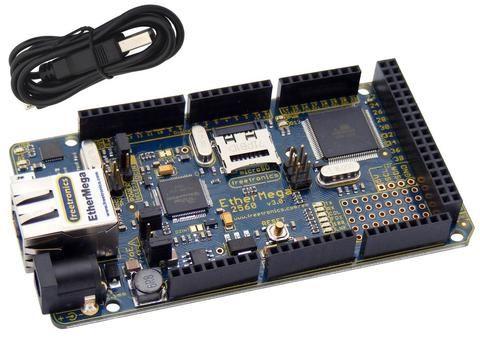 EtherMega (100% Arduino Mega 2560 compatible with onboard Ethernet)