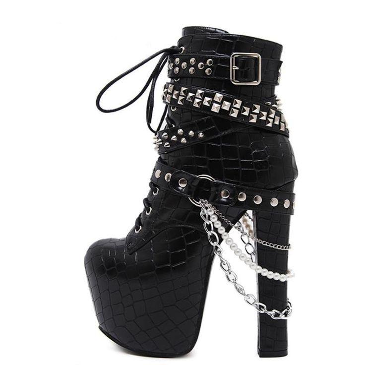 Gothic Metal Rivets Chains Womens Biker Boots