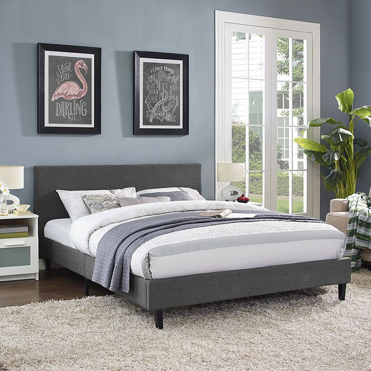 - Info - Colors - Dimensions Restyle your bedroom decor with the Emma Platform Bed. Designed with a chic avant-garde look, Emma comes with an upholstered polyester fabric base and headboard, solid woo