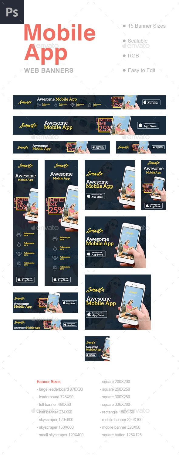 Mobile App Web Banners Template PSD. Download here: https://graphicriver.net/item/mobile-app-web-banners-template/17598449?ref=ksioks