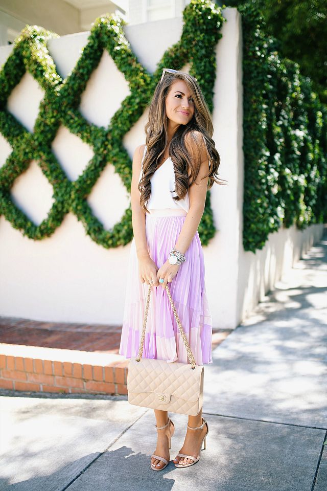 Southern Curls & Pearls: Pleated Midi Skirt