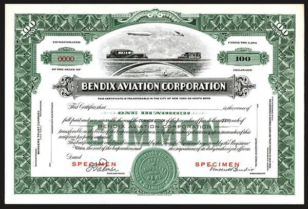 Bendix Aviation Corporation, ca. 1920-30's Specimen Stock Certificate. - Archives International Auctions