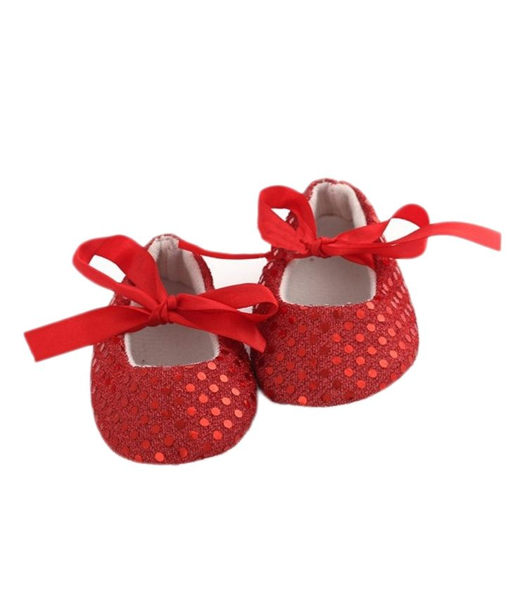 Pinkxenia Newborn Red Soft Soled Sparkly Sequins Non Slip Babygirl Booties Slippers Crib Shoes