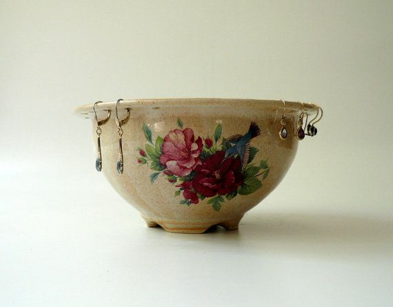Jewelry Bowl in Beige with Flowers and Gold by CrowWhitePottery, $52.00