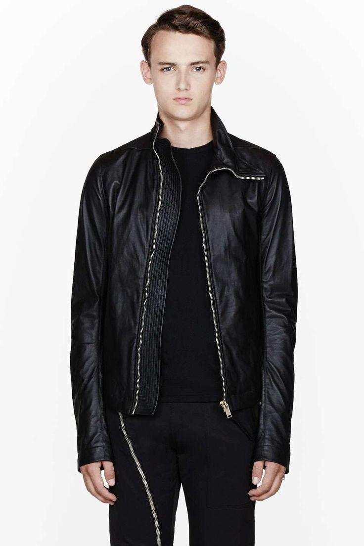 Black leather Asymmetric Mollino jacket