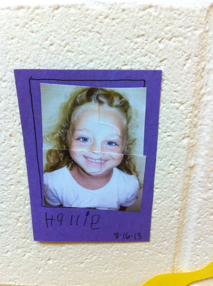 """Me puzzle"" made by using a photograph of the child's face, cutting it into ""puzzle pieces"", and having the child put the picture together! Preschool art. All about me"