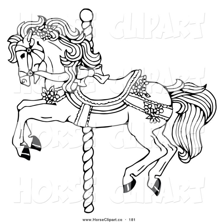 Clip Art Of Coloring Page Carousel Horse Decorated In Bows