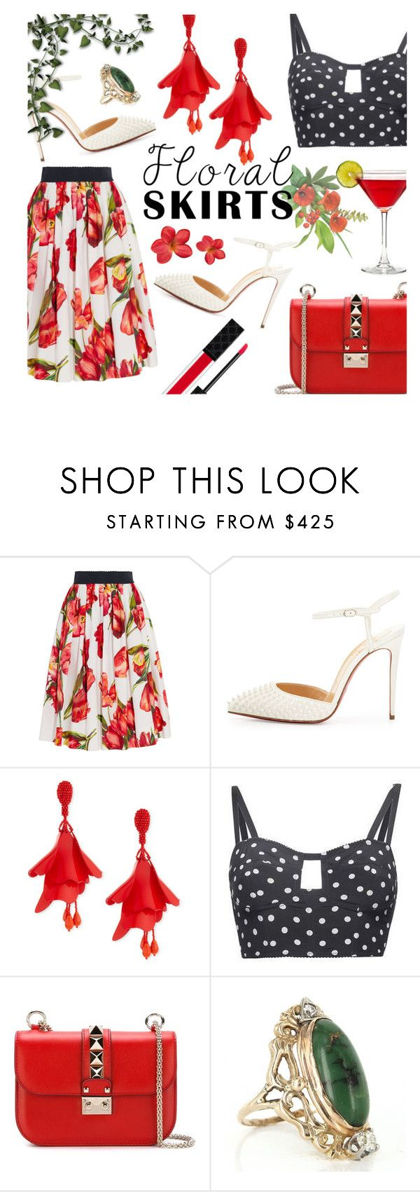 """""""The Perfect Floral Summer Skirt"""" by rosalind10 ❤ liked on Polyvore featuring Dolce&Gabbana, Christian Louboutin, Oscar de la Renta, Valentino, Vintage, Gucci, dolceandgabbana, valentino, christianlouboutin and tulips"""