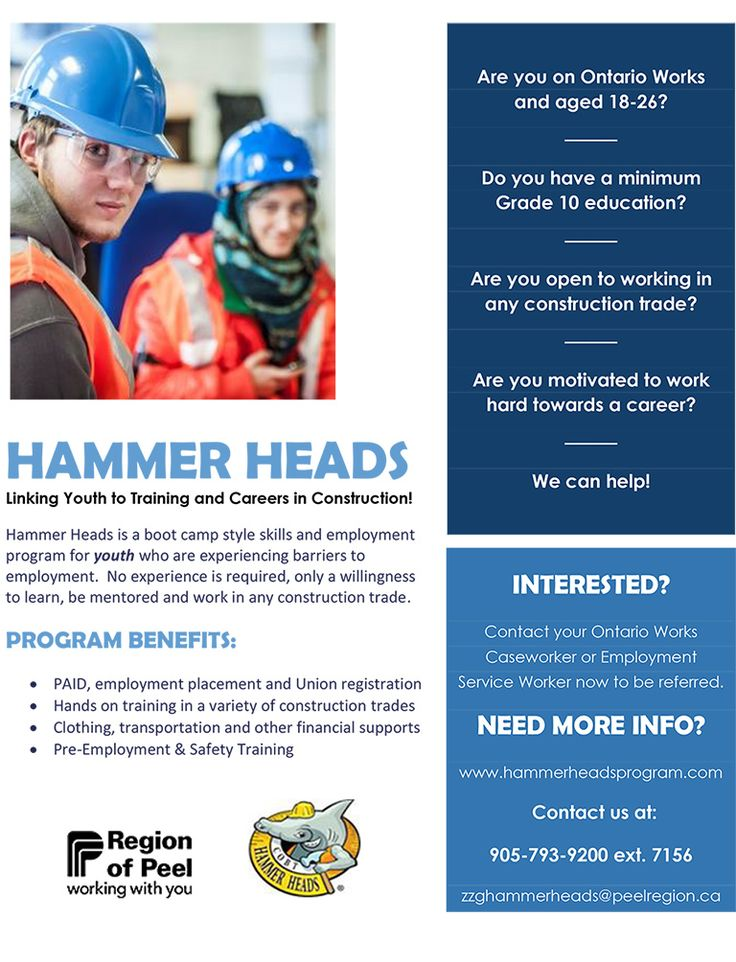 Hammer Heads is a boot camp style skills and employment program for youth who are experiencing barriers to employment. No experience is required, only a willingness to learn, be mentored and work in any construction trade. More info: 905-793-9200 ext. 7156 #ONjobs #JobSearch