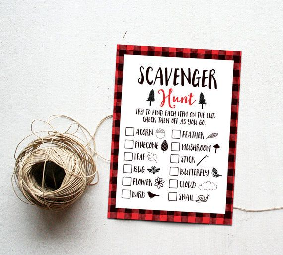 Scavenger Hunt Printable Instant Download, Outdoor Birthday Party Game, Red Buffalo Plaid Camping Party Games, Lumberjack, Adventure