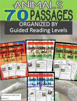 (Differentiation Made Easier) This ultimate bundle contains 70 guided reading passages organized by guided reading levels and Lexile levels. These leveled passages are a convenient way to teach students about animals. Save by purchasing this as a bundle.
