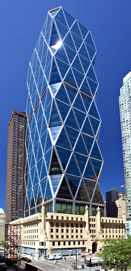 The Hearst Tower in Manhattan — HQ of Hearst Corporation — was the first building in NY to receive LEED Gold Rating for energy.