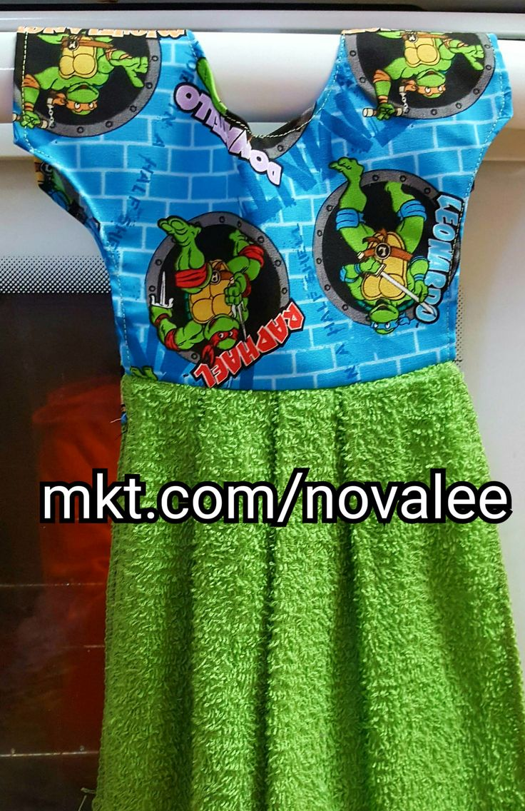 Ninja Turtle hanging towel, ninja turtles, hanging towel, kitchen towel, bathroom towel, green towel, turtles by NovaleesBoutiqueArt on Etsy