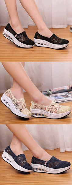 $19.75 Lace Breathable Platform Rocker Sole Shake Shoes For Women,sport shoes women,women's sport shoes,casual shoes women,casual shoes ideas