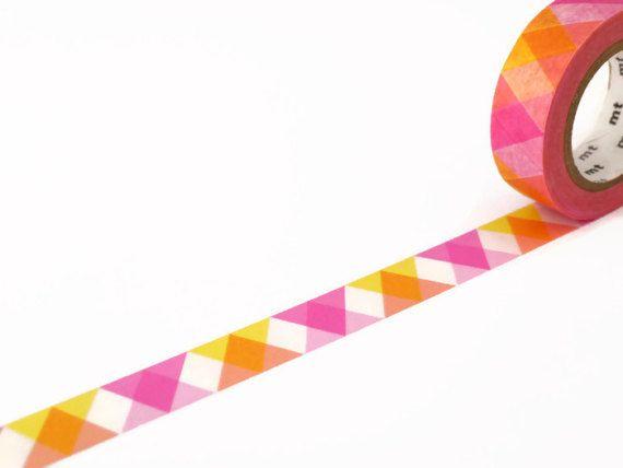 MT Washi Tape Triangle and Diamond Pink  Geometric by UnwrapColour